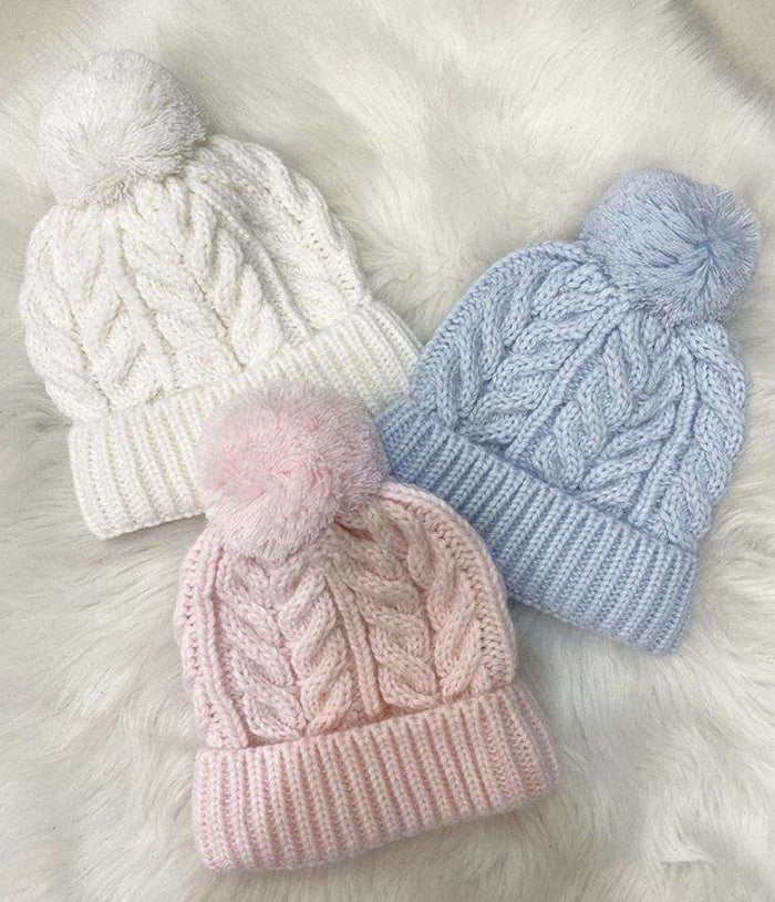 White Cable Knit Hat