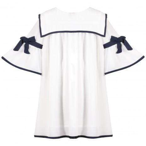White Chiffon Dress Bow Sleeves by Patachou