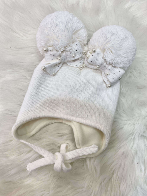 White Double Bow Hat