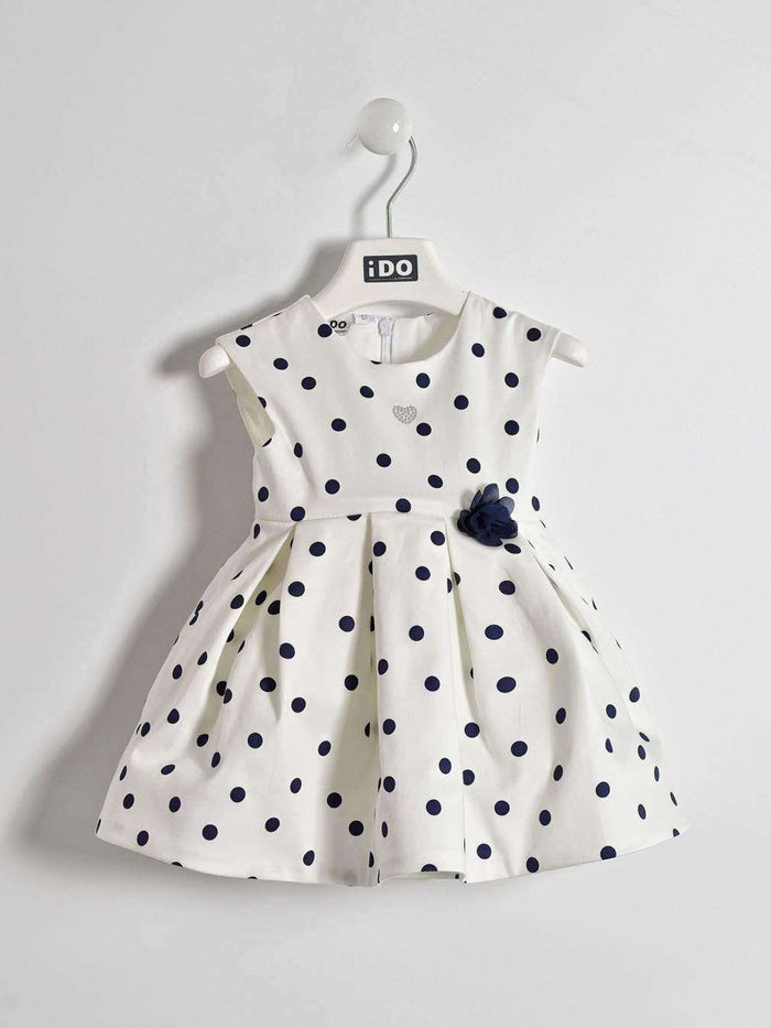 White Dress with Navy Spots and Flower Waist by IDO