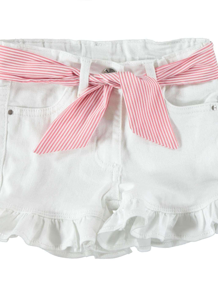 White Frill Denim Shorts with Red Belt By IDO