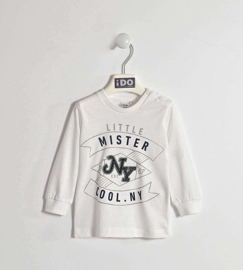 White Long Sleeve 'Little Mister Cool' Top by IDO