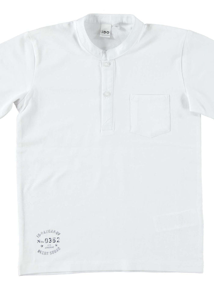 White Small Print T Shirt by IDO