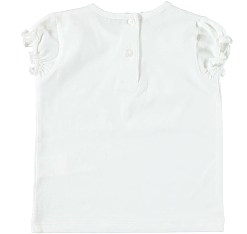 White T-Shirt with Navy Flower Detail by IDO
