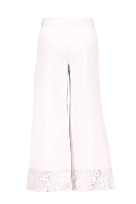 White Wide Leg Lace Trim Trousers by Le Chic