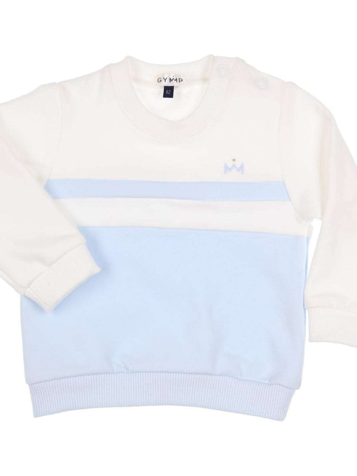 White/Blue Crew Neck Sweater by GYMP