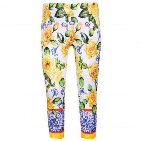 Yellow Flower Pattern Leggings by Patachou