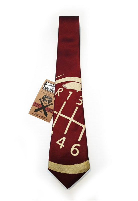 CYBEROPTIX TIE LAB Tie - Gear Shift (Maroon)