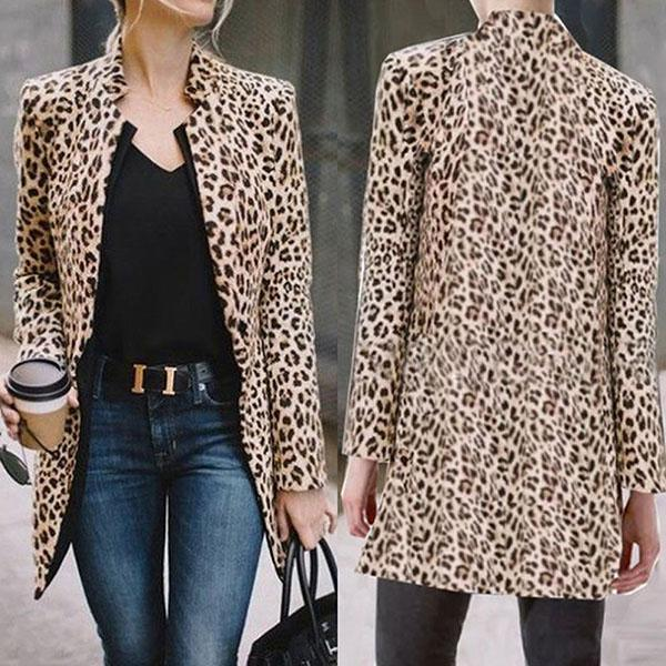The Best Leopard Printed Long Sleeve Coat Online - Hplify