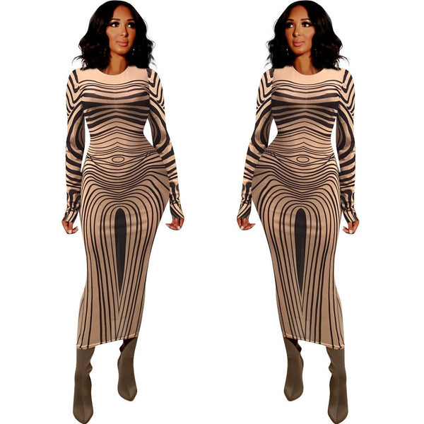 The Best Long sleeve mesh sheer party dress transparent striped printed bodycon dress Maxi dress Optical illusion wavy Vestidos Online - Hplify