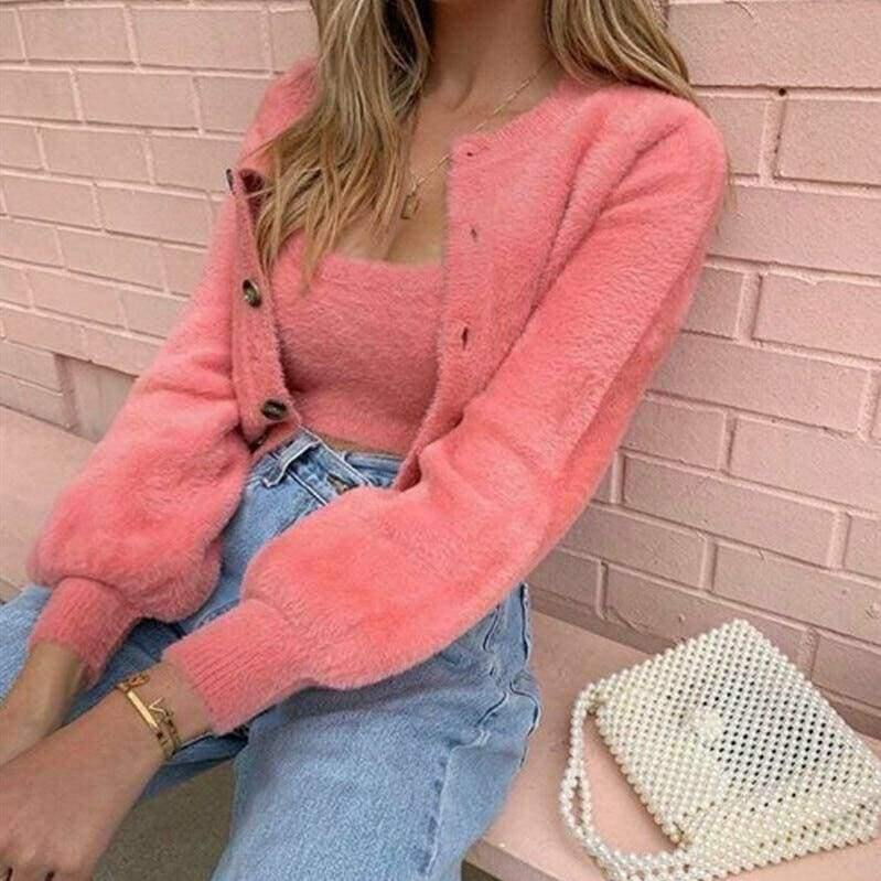 2 Pcs Casual Womens Long Sleeve Knitted Fluffy Cardigan Sweater Suit Female Pink Slim Button Crop Sweater Tops - Womens Clothing