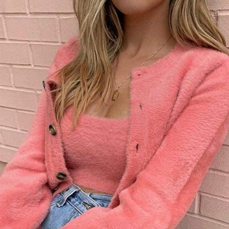 The Best 2 Pcs Casual Womens Long Sleeve Knitted Fluffy Cardigan Sweater Suit Female Pink Slim Button Crop Sweater Tops Online - Hplify