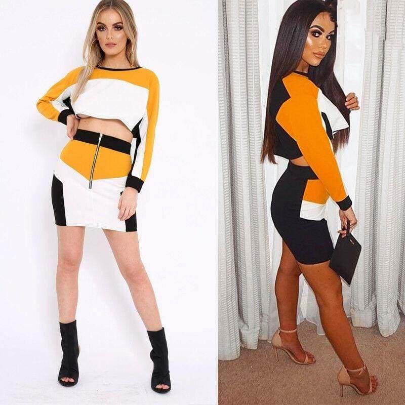 The Best 2 Piece Set outfits for Women Bodycon Crop Top and Skirt Set Fashion Streetwear Party Club suit ensemble femme Two Piece set Online - Hplify