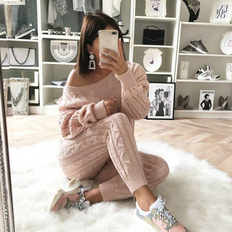 The Best 2 piece set women knitted sweater and pants suits Fashion off shoulder tops pullover tracksuits Two piece set outfits Online - Hplify