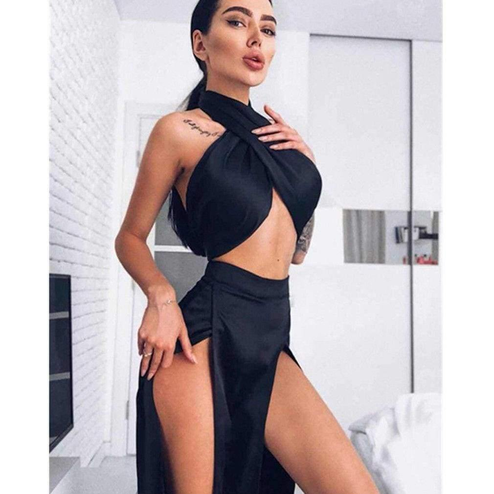 The Best 2 piece set Women Sexy Sleeveless Halter Crop Top Bra and Split Wide Leg Pant Female Cocktail Party Suit Elegant Clothes set Online - Source Silk