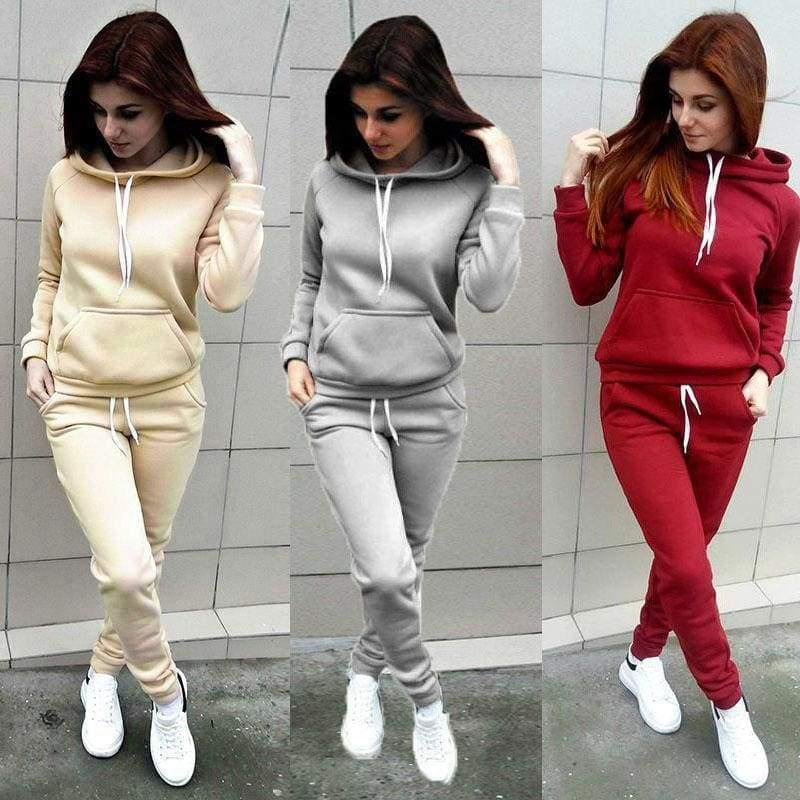 The Best 2 Pieces Suit Women Autumn Winter Hoodies Sweatshirt + Pant Sportwear Solid Pocket Tracksuit Set Casual Sweat Suit Jogging Set Online - Hplify