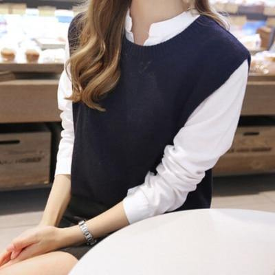 The Best 2018 Autumn knitted sleeveless sweater vests Female sleeveless knit sweaters Round neck short waistcoat Vest mujer Online - Hplify