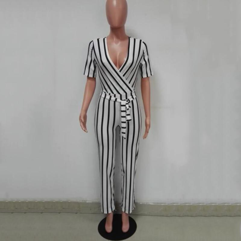 The Best 2018 Fashion Deep V One Piece Striped Women Overalls Waist Belted Wide Leg Office Sexy Bodysuit Bodycon Summer Elegant Jumpsuit Online - Hplify