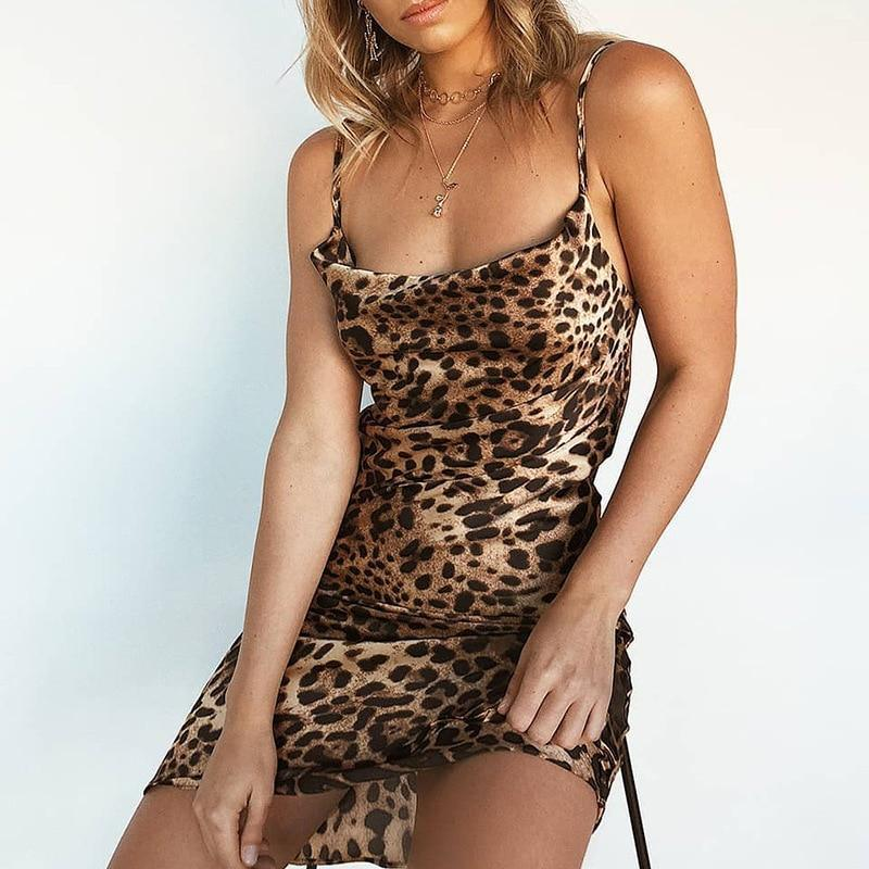 The Best 2018 Sexy Woman Leopard Dresses Sleeveless Slim Fit Ladies Party Club Dress Mini Bodycon Backless Femme Camisole Mujer Clothing Online - Hplify
