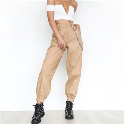 The Best 2018 Summer thin cargo pants with chains Women High waist ankle-length pants Cool street female trousers Casual khaki pants Online - Hplify