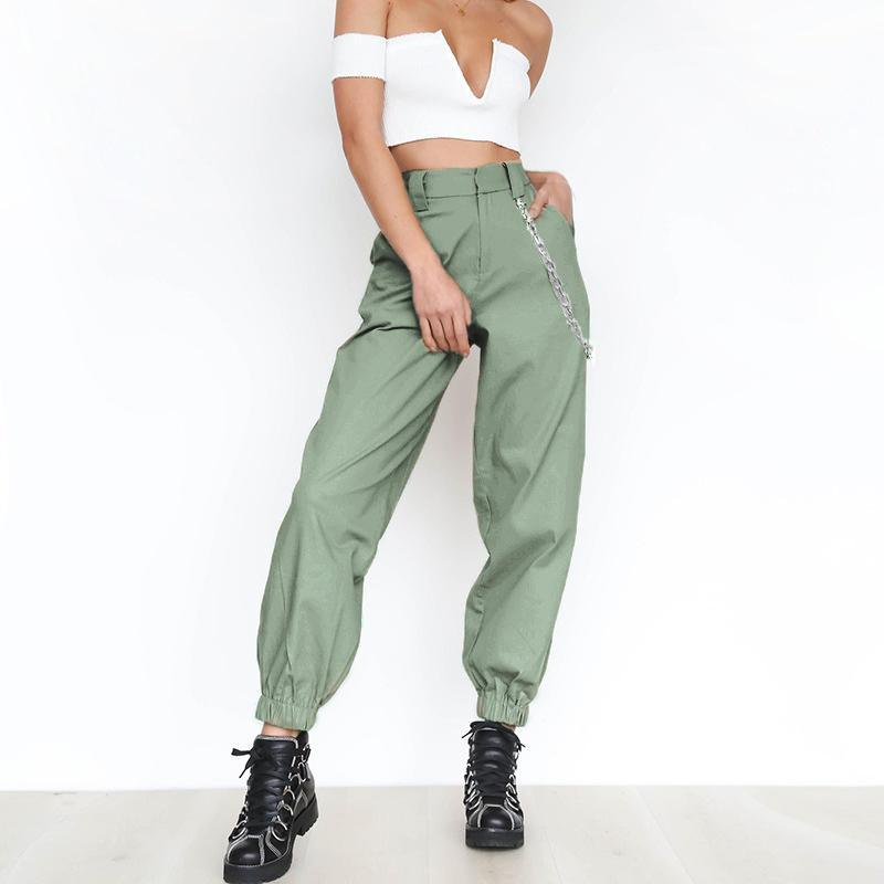 2018 Summer thin cargo pants with chains Women High waist ankle-length pants Cool street female trousers Casual khaki pants - Hplify