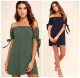 The Best Tube Top off-Shoulder Horizontal Neck Bow Short Sleeve Dress Online - Source Silk
