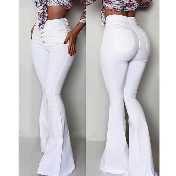 The Best 2019 Fashion Buttoned Bell-Bottom High Waist Pants Women Solid slim fit white flare pants Summer Elegant workwear patalon femme Online - Hplify