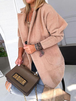 The Best Winter Women Elegant Shaggy Casual Outfit Female Fashion Daily Long Jacket Warm Khaki Solid Fluffy Open Front Long Coat Online - Hplify
