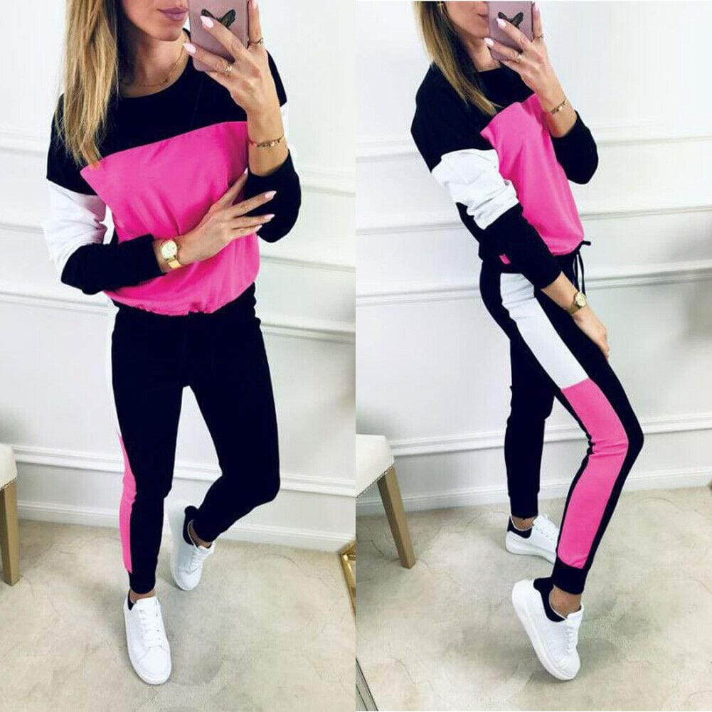 The Best 2019 Autumn Casual Women's Sport Hoodies Sweatshirt Tops + Long Pants Set 2Pcs Tracksuit Fitness Sweat Suit Sportwear Online - Source Silk
