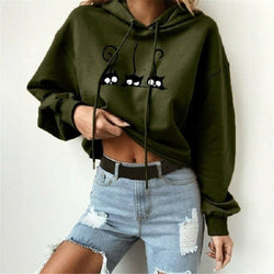 The Best 2019 Autumn Women Cute Cat Pinted Sweatshirt Hoodies Ladies Casual Loose Pullover Jumper Coat Tops Warm Winter Online - Hplify