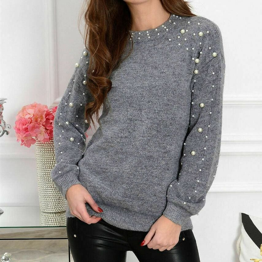 The Best 2019 Autumn Women Half-high Collar Knitted Beading Sweater Loose Jumper Ladies Winter Warm Basic Pullover Tops Online - Source Silk