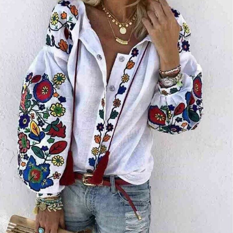 Buy Cheap 2019 Autumn Women's Tops Shirt Long Sleeve Loose Casual V-neck Floral Print T-Shirts Beach Holiday Streetwear Online - Hplify