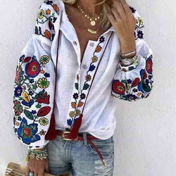 The Best 2019 Autumn Women's Tops Shirt Long Sleeve Loose Casual V-neck Floral Print T-Shirts Beach Holiday Streetwear Online - Hplify