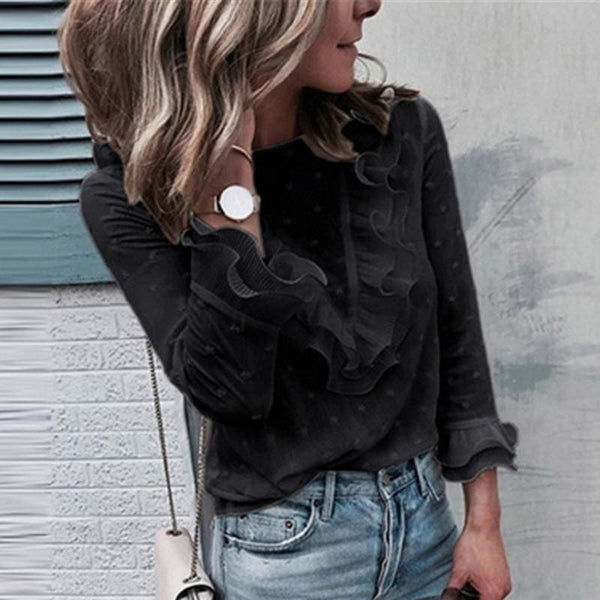 The Best 2019 Blouse Women Fashion Blouses Ruffle Ladies Tops Long Sleeve Shirt Office Lady Tops Elegant Woman Clothes Blusas Femininas Online - Hplify