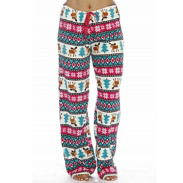The Best 2019 Christmas Costume Women Ladies Pyjama Bottoms Warm Fleece Winter Lounge Pants Nightwear Printed Lightweight Soft Pants Online - Hplify