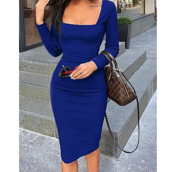 The Best 2019 Elegant Women Autumn Bandage Bodycon Knee-length Dress OL Ladies Casual Long Sleeve Evening Party Club Slim Fit Dress Online - Hplify
