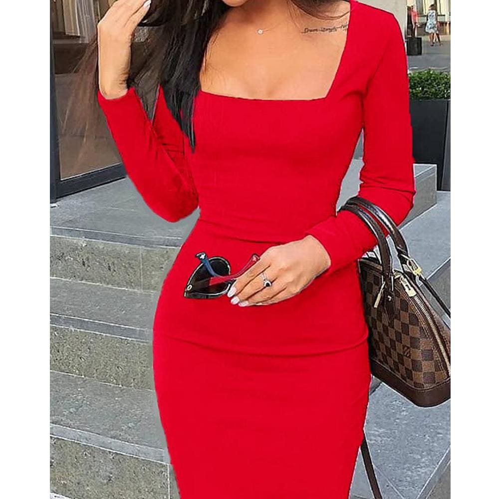 The Best 2019 Elegant Women Autumn Bandage Bodycon Knee-length Dress OL Ladies Casual Long Sleeve Evening Party Club Slim Fit Dress Online - Source Silk