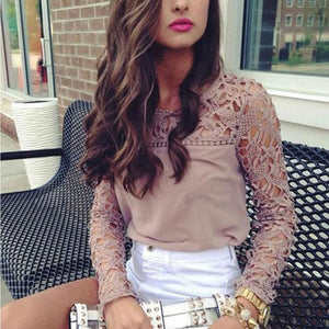 2019 Elegant Women Ladies Chiffon Lace Shirt arrival Ladies Casual Solid Summer Outdoor Long Sleeve O-Neck Loose Tops New - Khaki / M - Tops