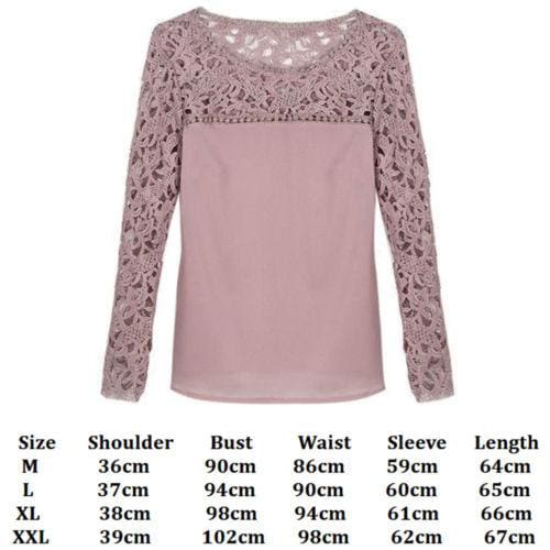 The Best 2019 Elegant Women Ladies Chiffon Lace Shirt arrival Ladies Casual Solid Summer Outdoor Long Sleeve O-Neck Loose Tops New Online - Hplify