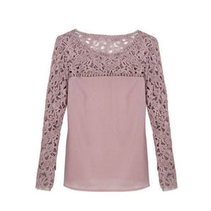2019 Elegant Women Ladies Chiffon Lace Shirt arrival Ladies Casual Solid Summer Outdoor Long Sleeve O-Neck Loose Tops New - Tops
