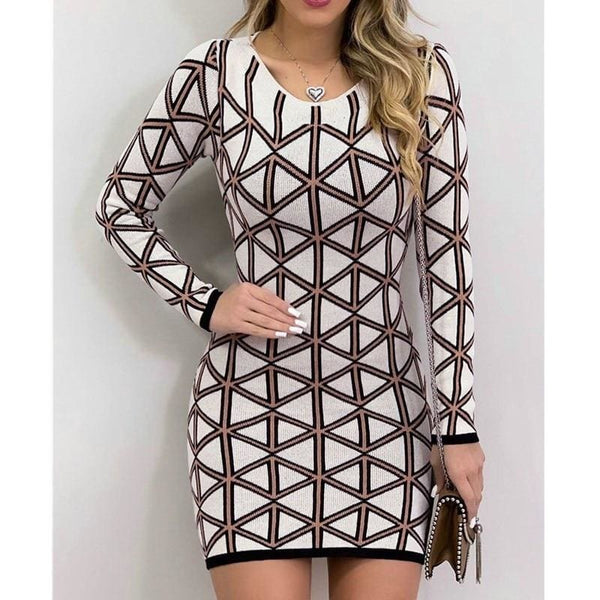 The Best 2019 Fashion Autumn Bodycon Dress Women Casual Plaid Long Sleeve Bandage Mini Dress Slim Fit Dress Outwear Online - Hplify