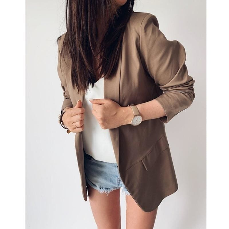 The Best 2019 Fashion Coat Women Autumn Winter Top Long Sleeve Office Lady Blazer Elegant vintage OL korean Blazer Streetwear Online - Source Silk