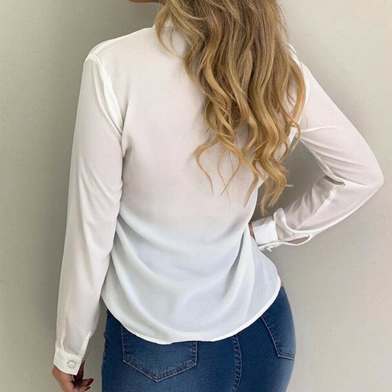 The Best 2019 Fashion Elegant Women Casual Long Sleeve Blouse Loose Tops OL Ladies Office Work Plain Collar Shirt Online - Hplify