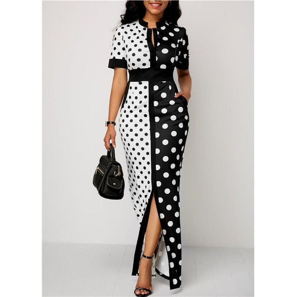 The Best 2019 Fashion Elegant Women Polka Dot Party Evening Summer Beach Dress Sundress Long Maxi Casual Slim Vintage Dress Online - Hplify