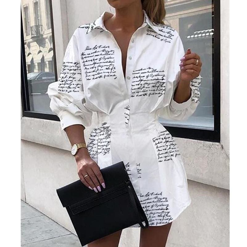The Best 2019 Fashion Lady A-Line Dress Swing Button Long Sleeve Loose Tunic Loose Baggy Top Autumn Blouse T-Shirt Dress Online - Hplify