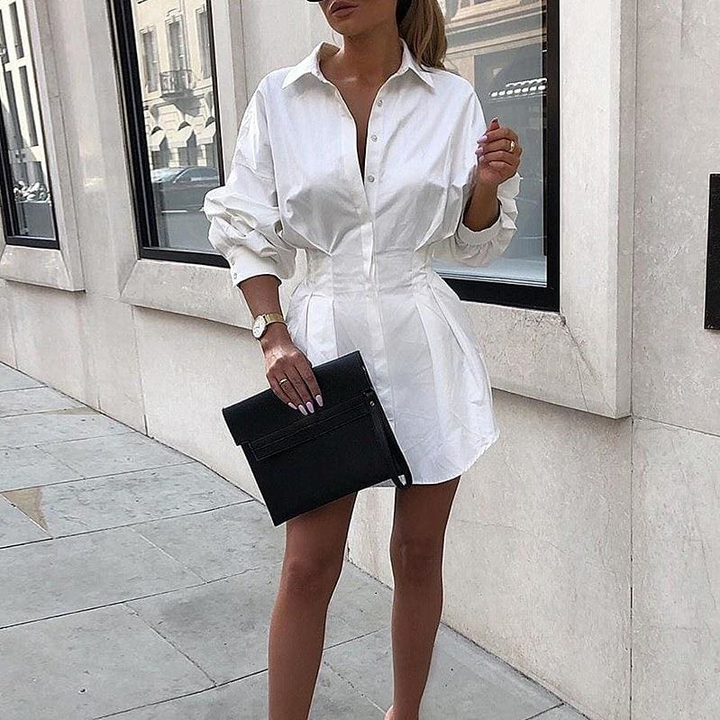 The Best 2019 Fashion Lady A-Line Dress Swing Button Long Sleeve Loose Tunic Loose Baggy Top Autumn Blouse T-Shirt Dress Online - Source Silk