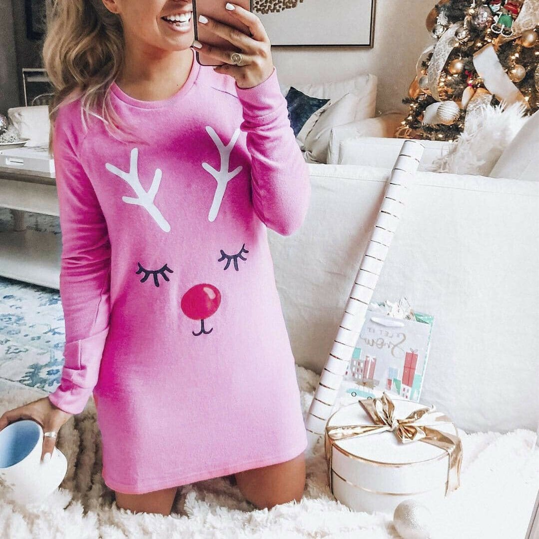 2019 Fashion New Women Christmas Elk Short Mini Dress Cute Ladies Autumn Winter Long Sleeve Pullover Casual T-Shirt Dresses - Dresses