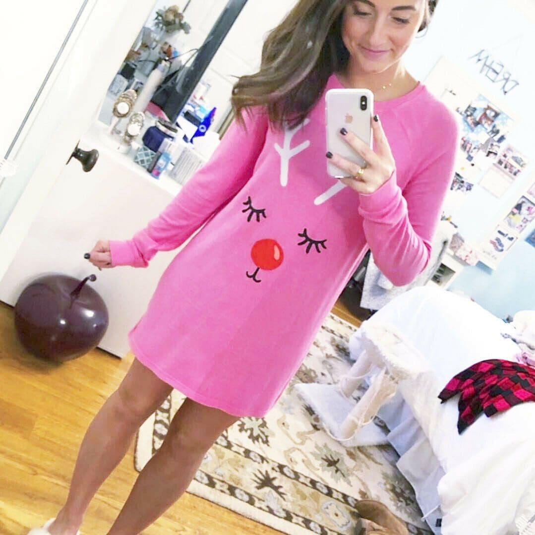 2019 Fashion New Women Christmas Elk Short Mini Dress Cute Ladies Autumn Winter Long Sleeve Pullover Casual T-Shirt Dresses - S - Dresses