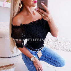The Best 2019 Fashion New Women Off Shoulder Slim Fit Short Sleeve Lace Tops Ladies Casual Summer Holiday Party Tops Online - Hplify