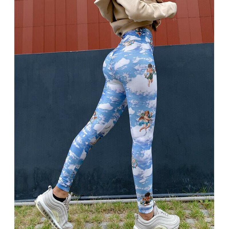 The Best 2019 Fashion New Women Printed Fitness Legging High Waist Workout Pants Running Gym Sports Stretch Trousers Online - Source Silk